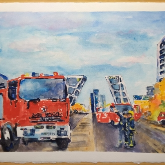 A watercolor of a Fire Truck in Madrid, Spain