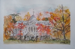 Watercolor of the Cristal Palace in Madrid Spain