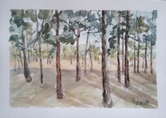 A watercolor of Parque Forestal Madrid Sur