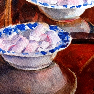 Watercolor of Pink Marshmellows in ceramic dessert dish