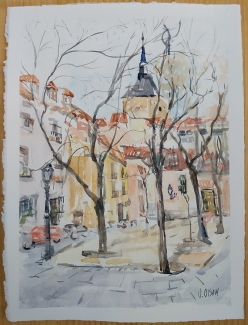 Watercolor of Plaza de la Paja in Madrid, Spain