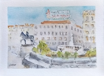 Watercolor of Puerta del Sol on New Year's day Madrid Spain