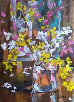 Oil Painting of Spring Blossoms in Pickle Jar