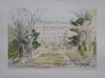 Watercolor of El Palacio Real from Campo del Moro Madrid, Spain