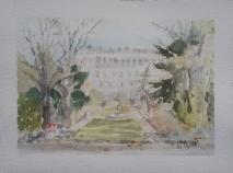 Watercolor of El Palacio Real from Campo del Moro Madrid, Spain