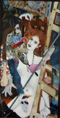 oil painting and other medium on canvas of a young lady surrounded by a nightmare