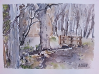 Watercolor of Bustarviejo Forest in March