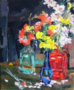 This is a small oil painting of blue bottles with a red bottle and spring flowers.