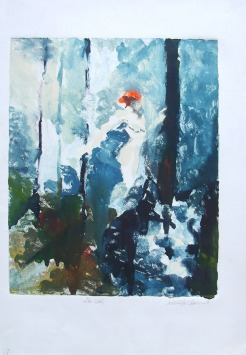 Oil on paper of young lady walking in the woods with a wolf nearby