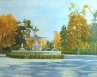 Painting of Fuente de la Alcachofa in Madrid Spain