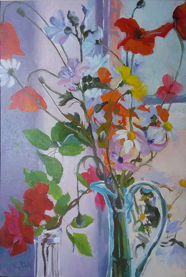 A small oil painting of mediterranean Wildflowers in blue glass ewer.