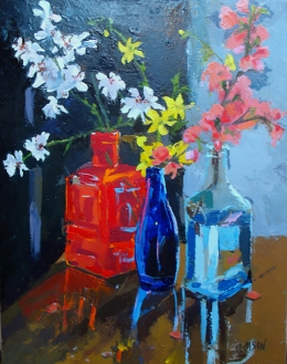 Oil painting of Red, blue and light blue transparente glass bottles with flowers in water.