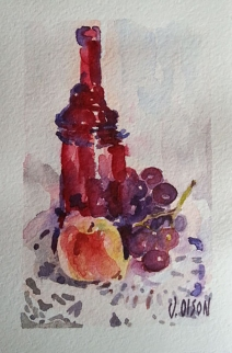 watercolor of Red glass bottle with apple and grapes