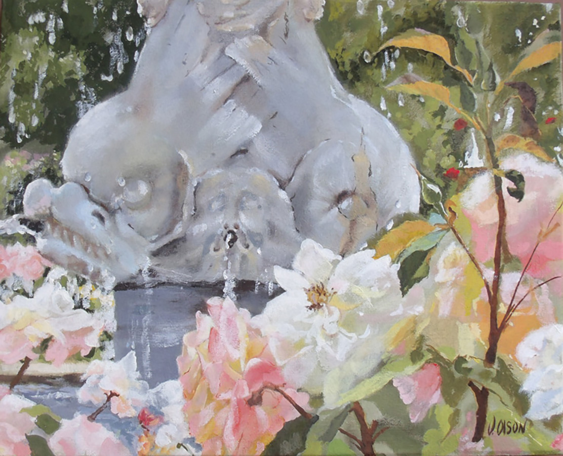 small oil painting of roses and stone dolphin-like sea creatures