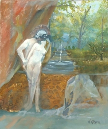 oil painting of Helen and Paris in front of a garden