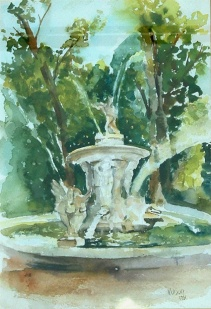 Watercolor of Narciso Fountain in Aranjuez Spain