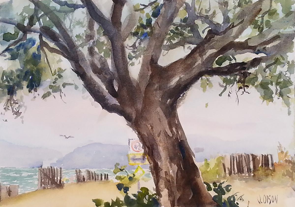 Watercolor of Alameda Shoreline