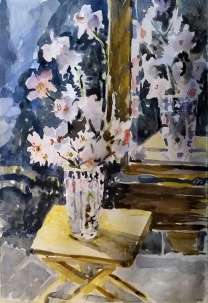 Watercolor of Almond Blossom on wooden pine table