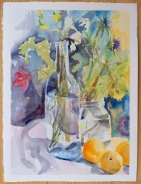Watercolor of Oranges with flowers and clear glass bottles