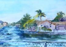 Watercolor of Lagoon in Alameda