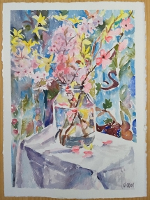 Watercolor of pink and yellow flowers in a picklejar on a white tablecloth