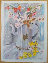 Watercolor of White Vintage Coffee Pot and Spring Flowers