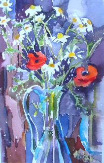 Watercolor of poppies and daisies in blue glass ewer.