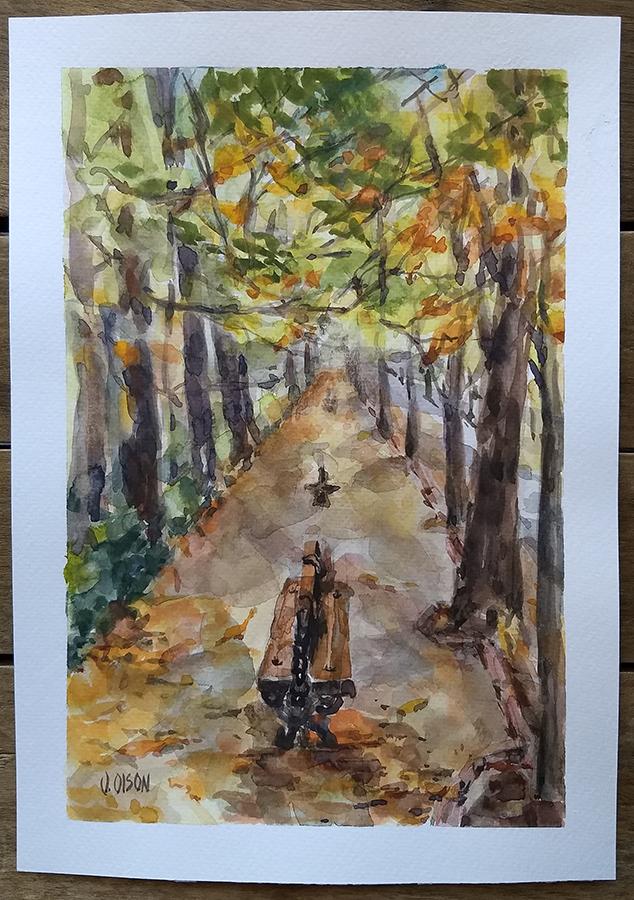 Watercolor of the autumn in Retiro Park Madrid