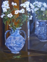 Painting of Talavera Vase with daisies.