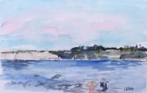 Watercolor of La Jolla Shores from Children's Beach
