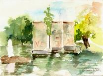 Watercolor of the Berlin Park in Madrid, Spain