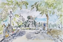 Watercolor of a day in the Retiro Park with a band playing and a couple dancing.