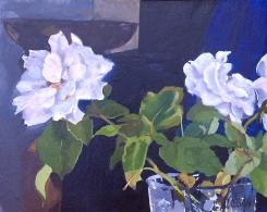 This is a small oil painting of white roses in a crystal vase.