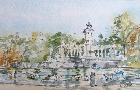 Watercolor of Monument to Alfonso XII