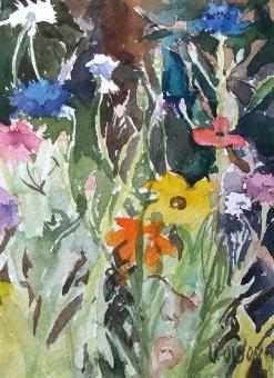 watercolor of california wildflowers.