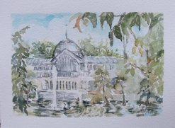 Watercolor of Crystal Palace in the Retiro Park of Madrid Spain.