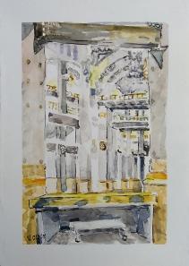 Palacio de Cibeles Interior 2020 Watercolor and Pen and Ink on 280 gsm Paper 15 x 21 cm / 5.75 x 8.25 in $36